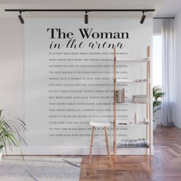 Daring Greatly Quote, Woman in the Arena - Inspirational Gift for Woman Entrepreneur Wall Mural