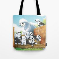 puppies Tote Bags featuring oes puppies by ARTCANIS m. barone