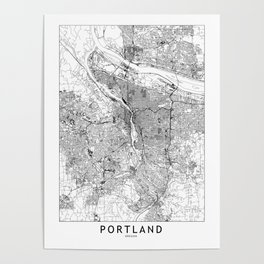 Portland White Map Poster