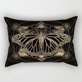 Butterfly in Sacred Geometry - Black and Gold Rectangular Pillow