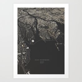 Saint Petersburg city map  Art Print