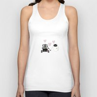 pixar Tank Tops featuring pixar walle and eve love and romance... minimalistic by studiomarshallarts