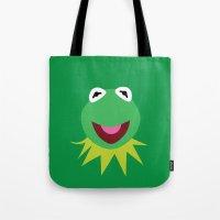 kermit Tote Bags featuring Minimalist Kermit by Bryan Vogel