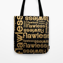 Flawless Gold Metallic Repeated Typography Tote Bag