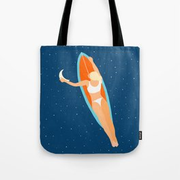 Moon Surfing #illustration #painting Tote Bag