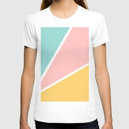 Tropical summer pastel pink turquoise yellow color block geometric pattern T-shirt