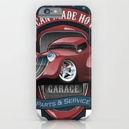 American Hot Rods Garage Vintage Car Sign Cartoon iPhone Case