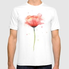 Red Poppy Watercolor Flower Floral Mens Fitted Tee LARGE White