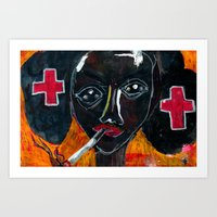 nurse Art Prints featuring Nurse by C Z A V E L L E
