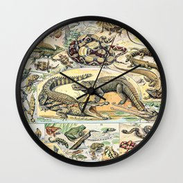 Reptiles by Adolphe Millot // XL 19th Century Snakes Lizards Alligators Science Textbook Artwork Wall Clock