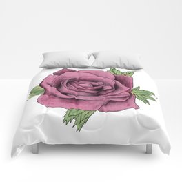 Watercolour Red Rose Comforters