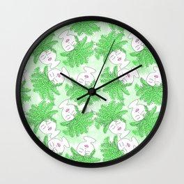 Fern-tastic Girls in Neon Green Wall Clock