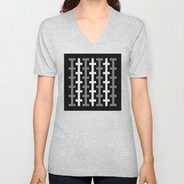 Geometric Pattern 113 (gray lines stripes) Unisex V-Neck