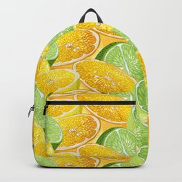 Citrus juicy slice pattern with fruit halves Backpack