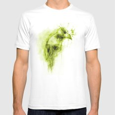 Splatter Bird Green White Mens Fitted Tee SMALL