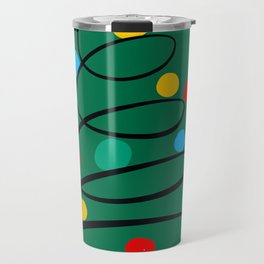 Christmas Tree Minimal Design Art Red Blue Green Travel Mug
