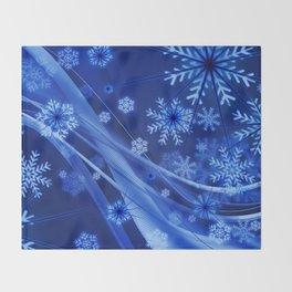 Blue Snowflakes Winter Throw Blanket