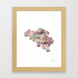 Belgium map - Portrait Framed Art Print