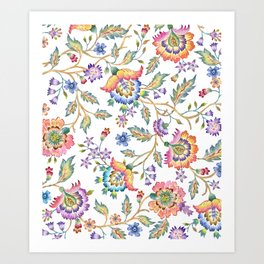 floral pattern white Art Print
