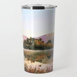 Island on Grasmere at Dawn, Lake District Cumbria, UK. Watercolour Painting Travel Mug