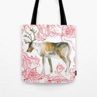 reindeer Tote Bags featuring Reindeer by Naomi Bardoff