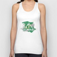 deathly hallows Tank Tops featuring The Deathly Hallows (Slytherin) by FictionTea