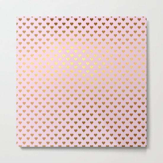 Princesslike- pink and gold elegant heart ornament pattern Metal Print
