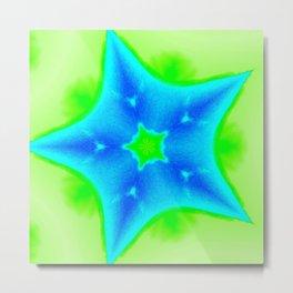 Star Bright Blue & Green Metal Print