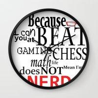 nerd Wall Clocks featuring Nerd by Jessica Jimerson