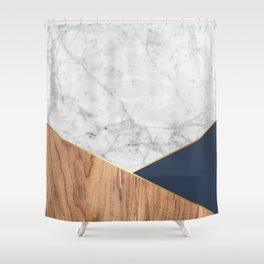 Geometric White Marble Design - Wood & Navy #599 Shower Curtain