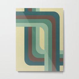 Abstract Retro Stripes Metal Print