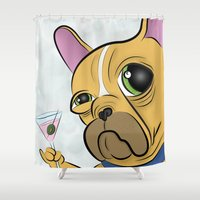 frenchie Shower Curtains featuring Frenchie by Kandus Johnson