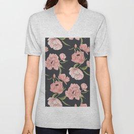 Modern floral peony botanical pattern Unisex V-Neck