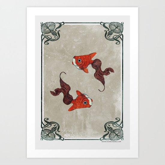 Peony gold fish Art Print