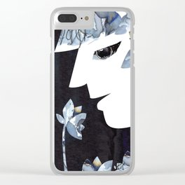 Portrait of a Woman Smelling Flowers Clear iPhone Case