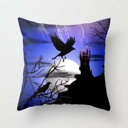 Raven's Haunted Castle Throw Pillow
