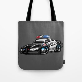 Police Muscle Car Cartoon Illustration Tote Bag