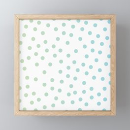 Simply Dots in Turquoise Green Blue Gradient on White Framed Mini Art Print
