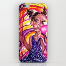 Bubble Trouble Girl Watercolor Painting iPhone Skin