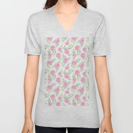 Blush pink green modern watercolor hand painted camellias Unisex V-Neck