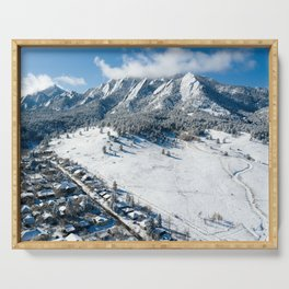 Snowy Flatirons Aerial Serving Tray