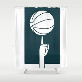 Basketball spinning on a finger Shower Curtain