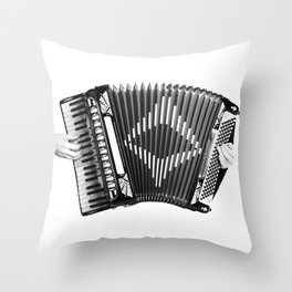 Accordion being squeezed Throw Pillow