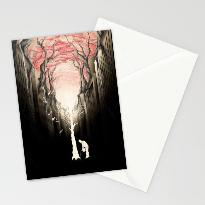 Revenge of the nature II: growing red forest above the city. Stationery Cards