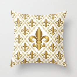 Gold Fleur-de-Lis Pattern Throw Pillow