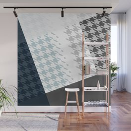 Modern Houndstooth Reinterpreted A – Navy / Gray / White Checked Pattern Wall Mural