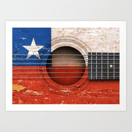 Old Vintage Acoustic Guitar with Chilean Flag Art Print