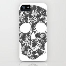 Black and White, Flower Skull iPhone Case