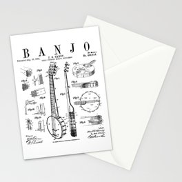 Banjo Musical Instrument Vintage Patent Drawing Print Stationery Cards
