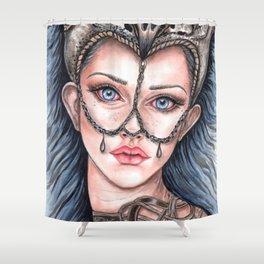 Viking Warrior Princess Fantasy Art Skull Crown Laurie Leigh Shower Curtain